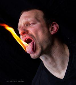 Fire Human tongue